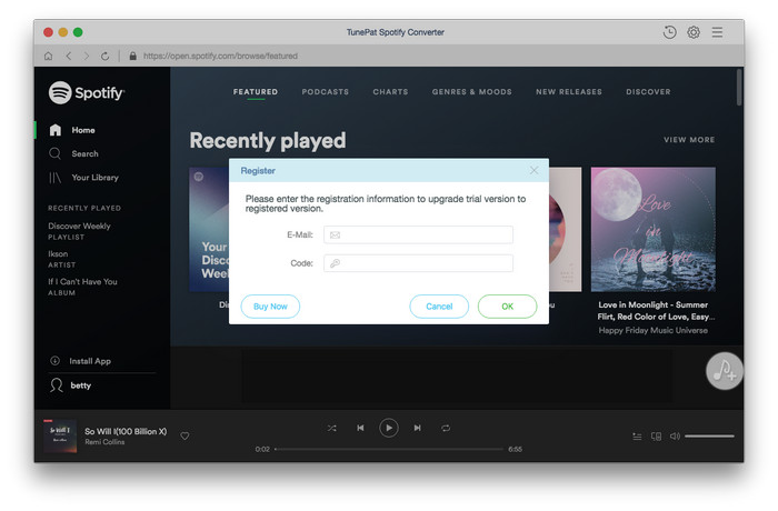 Register TunePat Spotify Music Converter for Mac